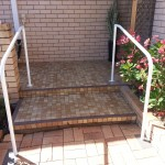 Photo of handrails at two steps