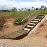 Rail and steps up embankment