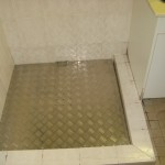 Photo of checkerplate shower base insert